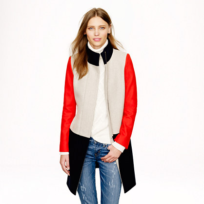 Colorblock funnelneck coat