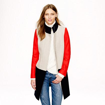 Petite colorblock funnelneck coat