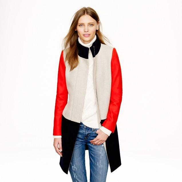 Colorblock funnelneck coat
