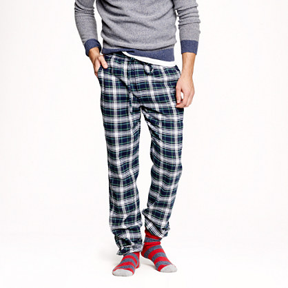 Slim flannel pajama pant in navy twilight plaid