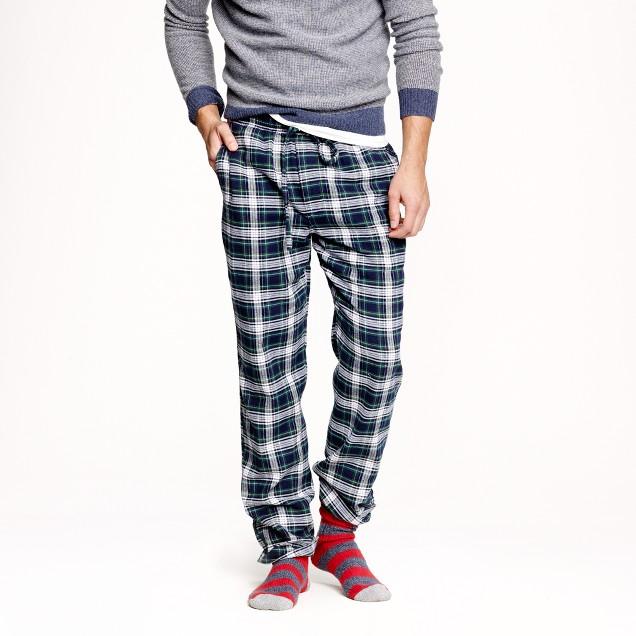 Slim flannel pajama pant in navy twilight plaid