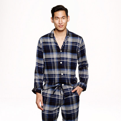 Slim cotton flannel check pajama set