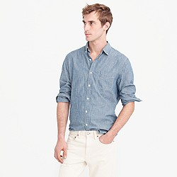 Slim indigo Japanese chambray shirt
