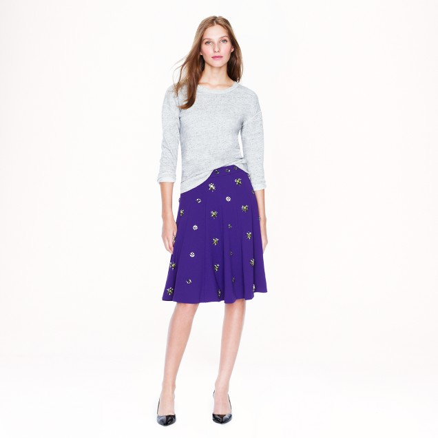 Collection jeweled crepe skirt
