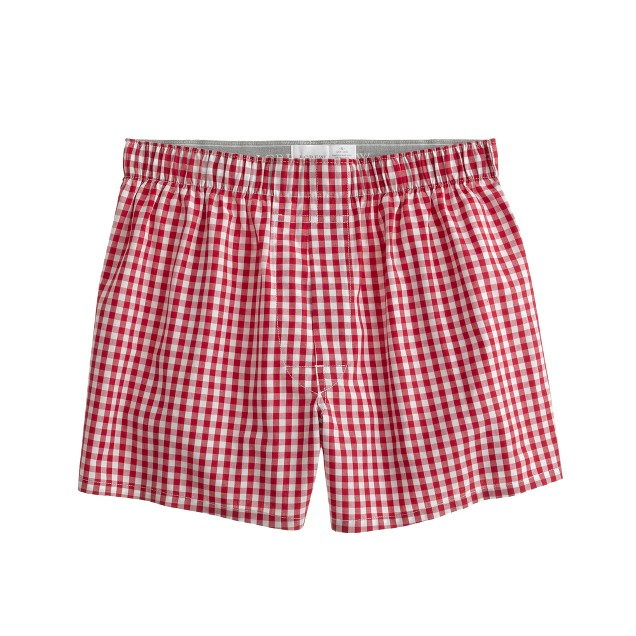 Boxers in warm poppy gingham