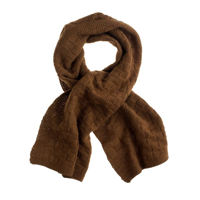 Wool basket-weave scarf