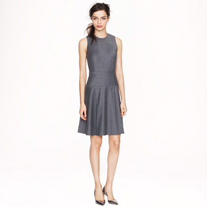 Pleated stretch flannel dress