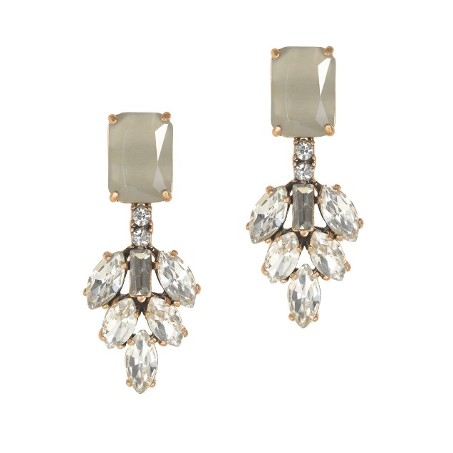 Crystal leaves earrings