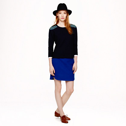 Tall shirttail mini in wool