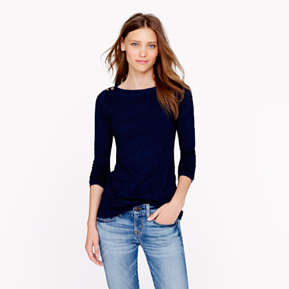 Painter button boatneck tee in indigo