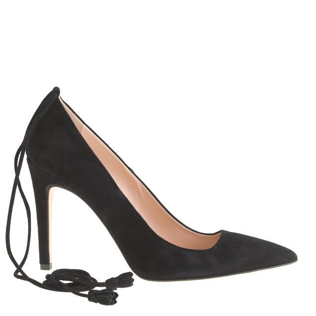Falsetto suede ankle-tie pumps
