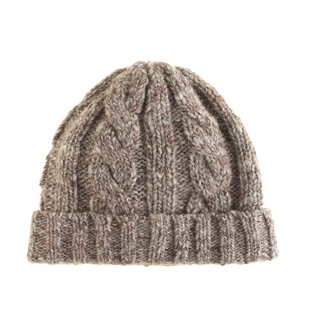 Wool cable-knit hat