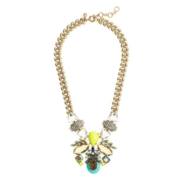 Symmetrical stone statement necklace