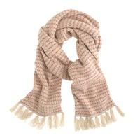 Lambswool stripe waffle-knit scarf