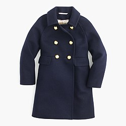 Girls' wool golden-button coat