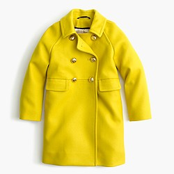 Girls' wool golden-button coat