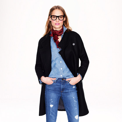 Double-breasted cocoon coat in wool-cashmere
