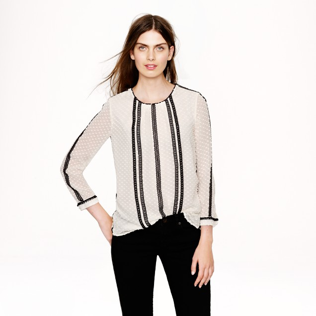 Lace-trim swiss-dot top