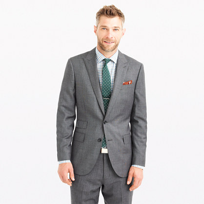 Ludlow peak-lapel suit jacket in Italian worsted wool