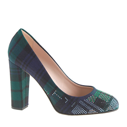 Collection Etta plaid jeweled-toe pumps