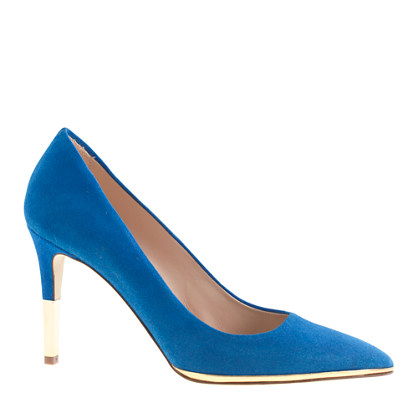 Everly suede metallic-trim pumps