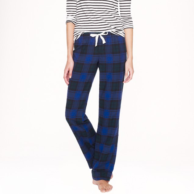 Pajama pant in green-blue plaid flannel