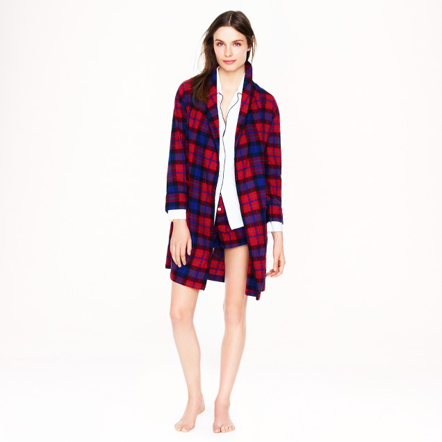 Robe in bright cerise plaid flannel
