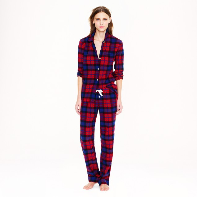 Pajama set in bright cerise plaid flannel