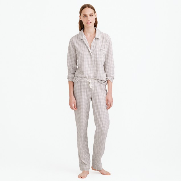 Pajama set in heathered gingham flannel