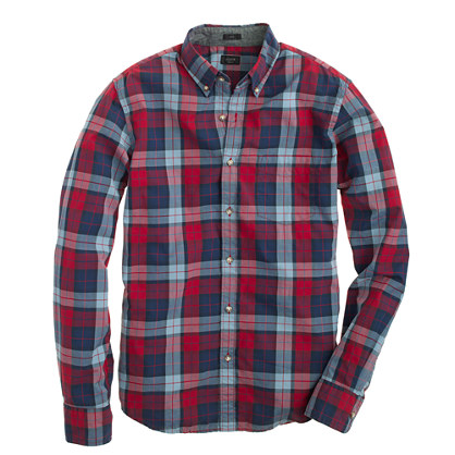 Slim Secret Wash shirt in overcast blue plaid