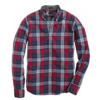 Slim Secret Wash shirt in overcast blue plaid