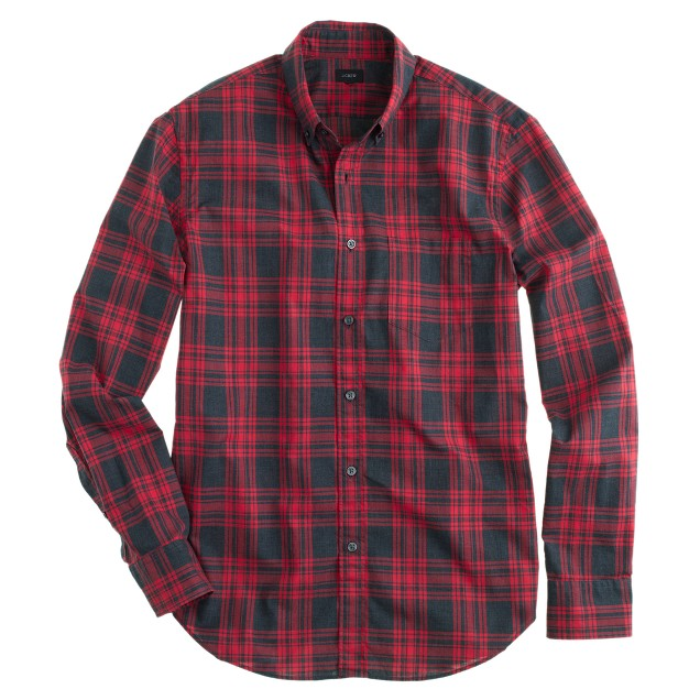 Secret Wash shirt in faded chili plaid