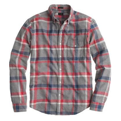 Slim brushed twill shirt in Danbury red plaid