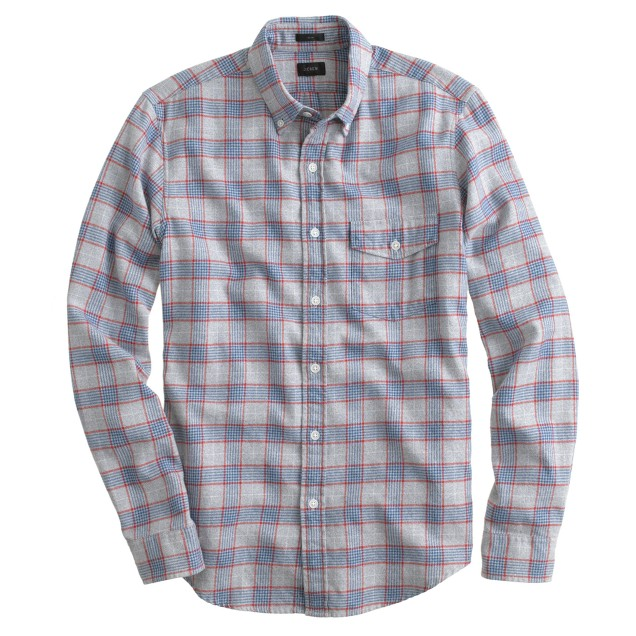Slim brushed twill shirt in authentic red check