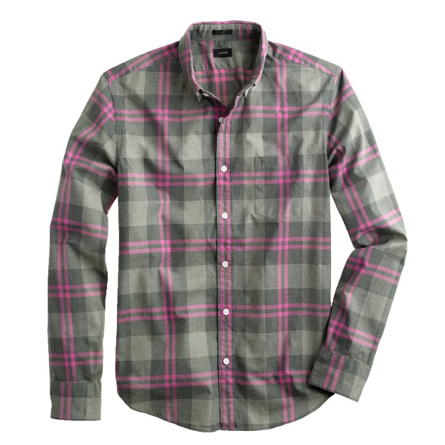 Slim Secret Wash shirt in heathered grey plaid
