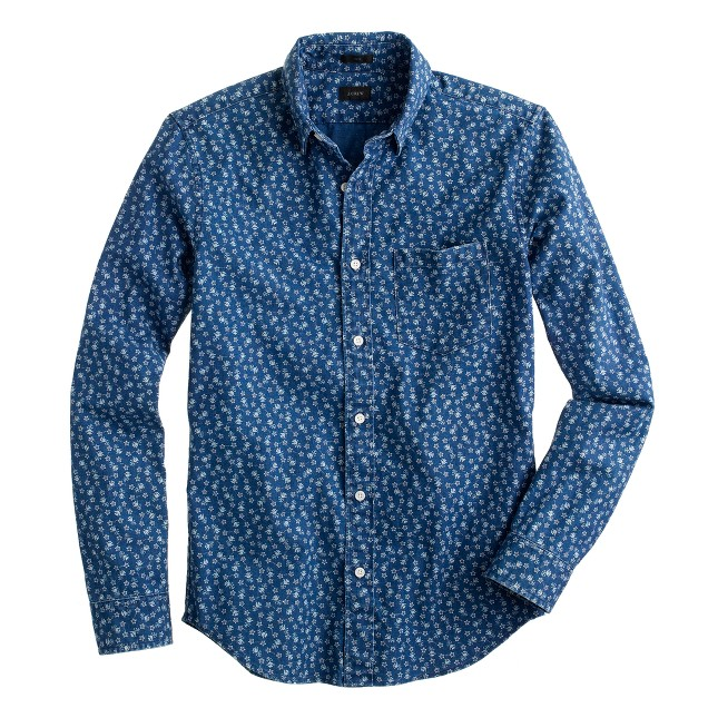 Slim shirt in indigo floral