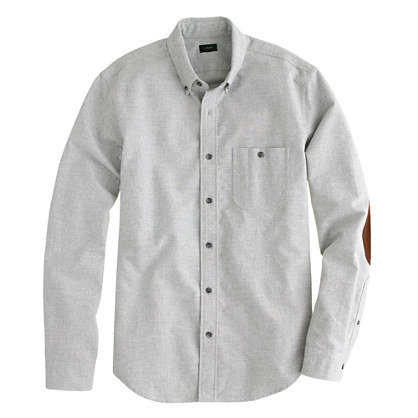 Slim heathered chamois elbow-patch shirt