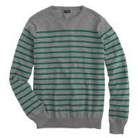 Cotton-cashmere sweater in autumn pine stripe
