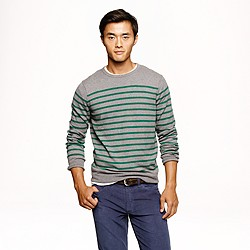 Cotton-cashmere sweater in autumn pine stripe