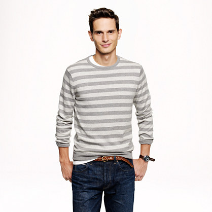 Cotton-cashmere sweater in heather graphite stripe
