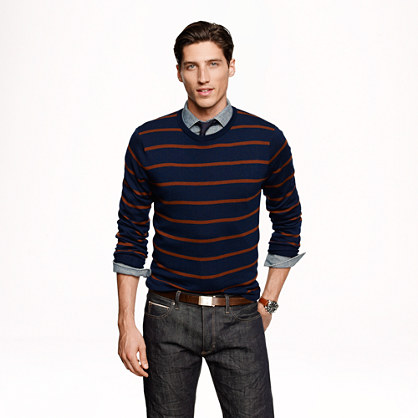 Slim merino sweater in navy stripe