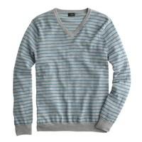 Slim merino v-neck sweater in heather grey stripe
