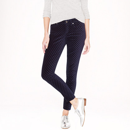Tall toothpick jean in velvet dot