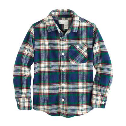 Boys' cotton twill flannel shirt in deep ivy plaid