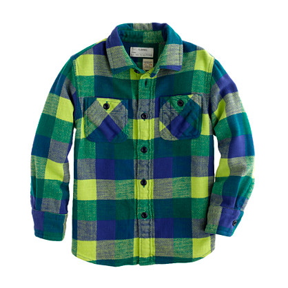 Boys' cotton twill flannel shirt in neon kiwi check