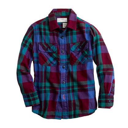 Boys' lightweight flannel shirt in garnet flame check