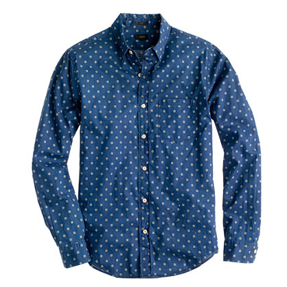 Slim shirt in indigo circle print