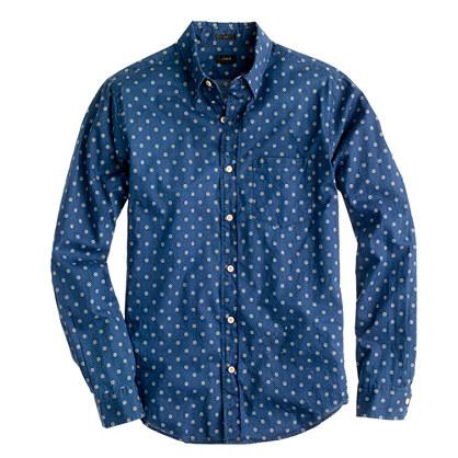 Slim shirt in indigo circle print slim shirt shop j crew for Patterned dress shirts for men