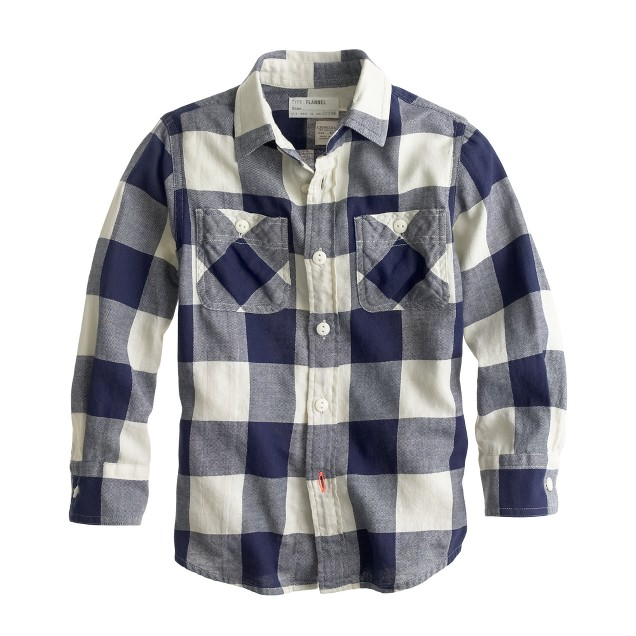 Boys' lightweight flannel shirt in giant navy check