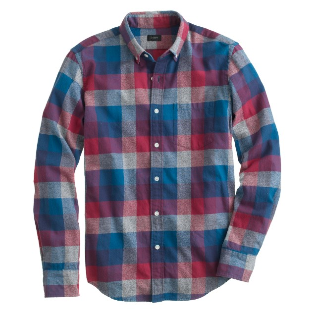 Slim brushed twill shirt in heathered plaid